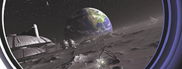 Joe Vintons Artwork of a View of Earth from a Moonbase