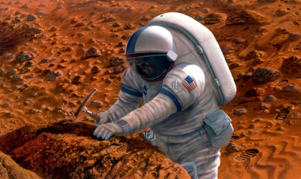 Life in Extreme Environments Mars Rock Hammer Artwork by Pat Rawlings