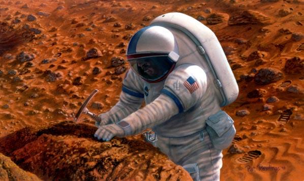 Life in Extreme Environments Mars Rock Hammer Artwork by Pat Rawlings