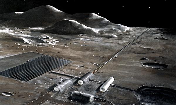Lunar base with mass driver