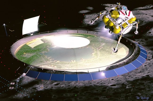 Lunar Domed Settlement space art by Pat Rawlings
