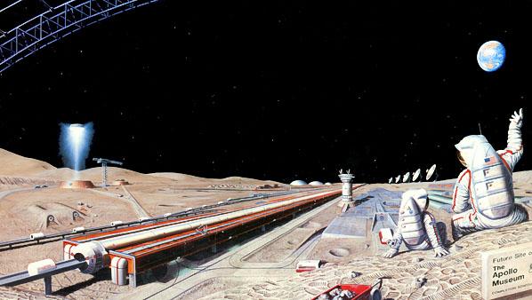 Lunar Mass Driver art by Pat Rawlings