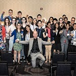 Jeff Bezos with students at the National Space Society's 2018 International Space Development Conference