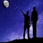 Artwork of two people standing on hill on Earth with one pointing at the moon