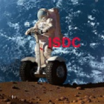Artwork of astronaut riding scooter on moon with Earth as background advertising the ISDC