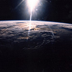 STS29 photo of sunrise from Earth orbit