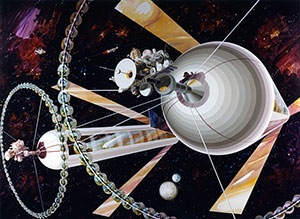 Space Settlement Milestone O'Neill Cylinder exterior