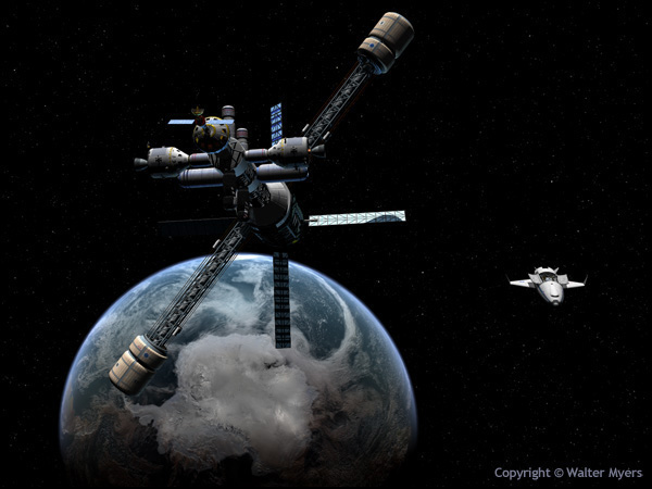 Lunar Cycler Near Earth space art