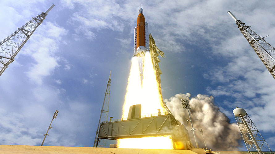 SLS first launch depiction