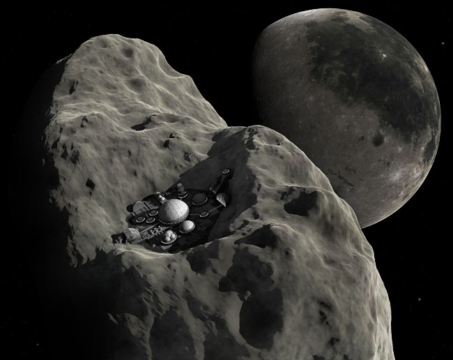 Space Settlement Art Contest Hannu Parviainen Asteroid Colony (Close View)