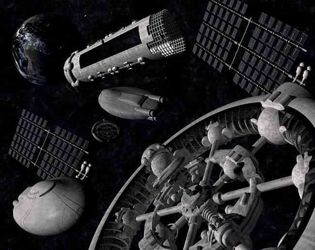 Space Settlement Art Contest: Construction Site