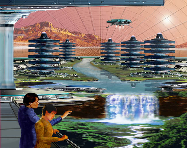 Space Settlement Art Contest Bill Wright Sagan City and the Greening of Mars