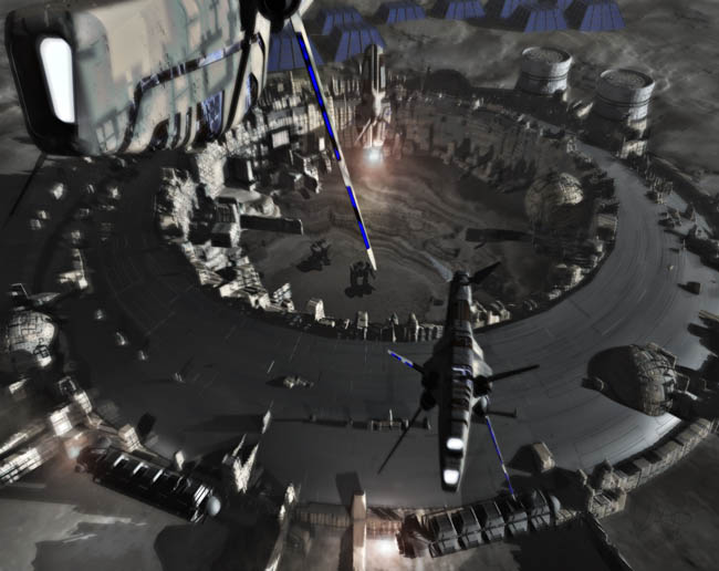 Space Settlement Art Contest RichardKurbis He3 Moon Base Mining Facility