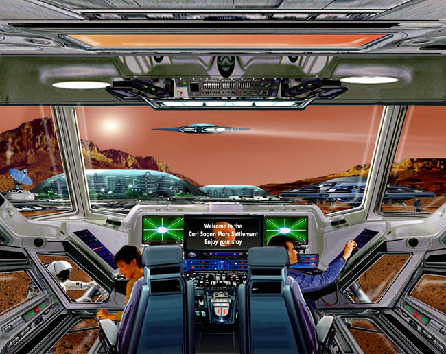 Space Settlement Art Contest: Landing at Sagan City