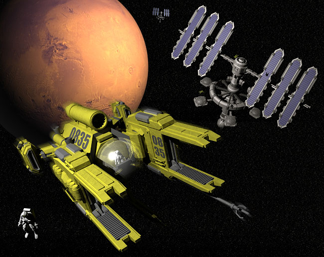 Space Settlement Art Contest: Mars Orbital Stations