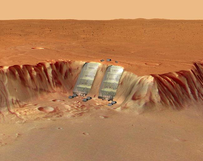 Space Settlement Art Contest Martian Cliff Base