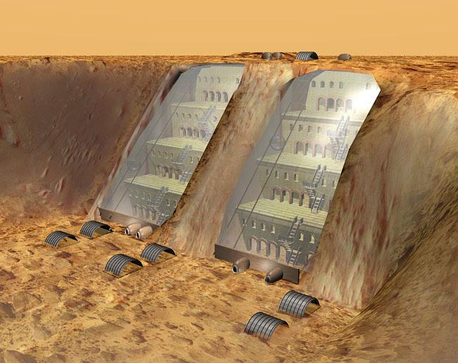 Space Settlement Art Contest Martian Cliff Base Close