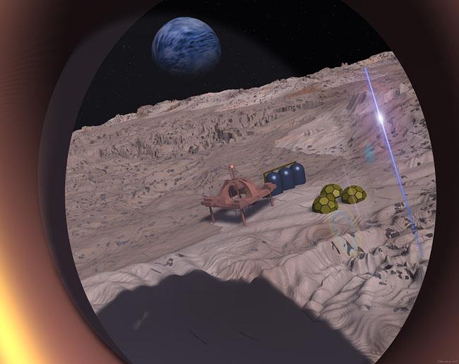 Space Settlement Art Contest: Montes Apenninus Encampment MA 1 Flyover
