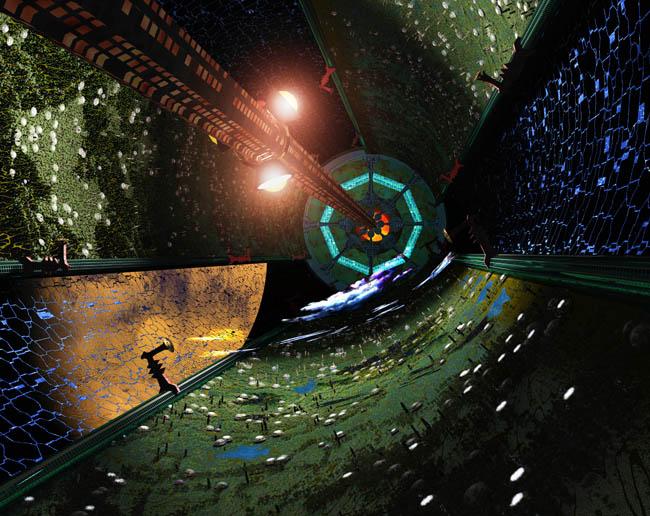 Space Settlement Art Contest Goetz Scheuermann O'Neill Style Cylinder Colony Orbiting Mars