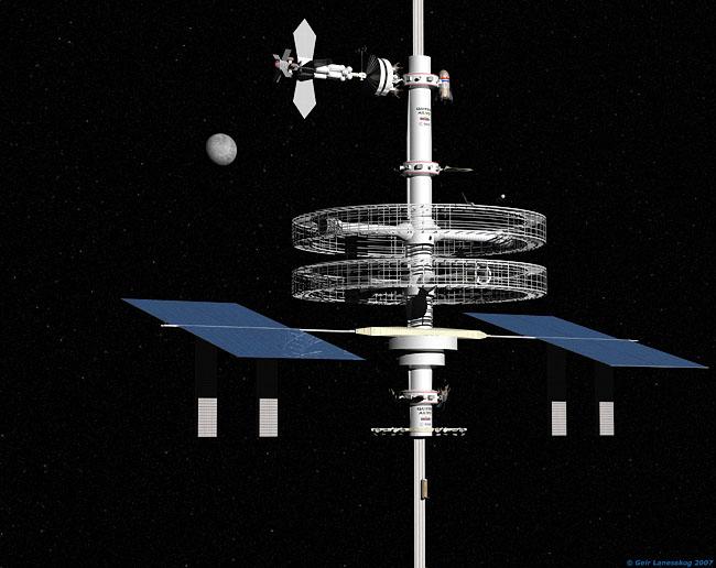 Space Settlement Art Contest: Quito Alto Geosynchronous Side