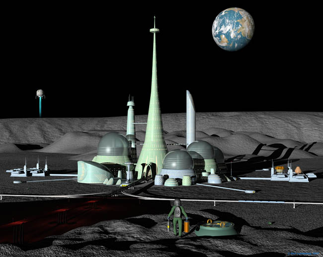 Space Settlement Art Contest: Smythii Crossing by Geir Lanesskog