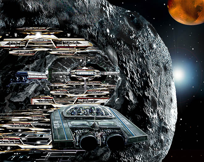 Space Settlement Art Contest: Gaspra Asteroid Mining Settlement