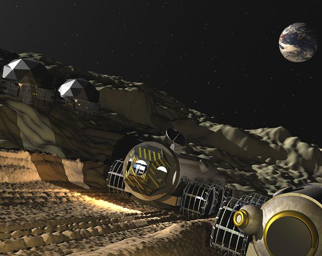 Space Settlement Art Contest: Aldrin/Collins Station, Lunar South Pole