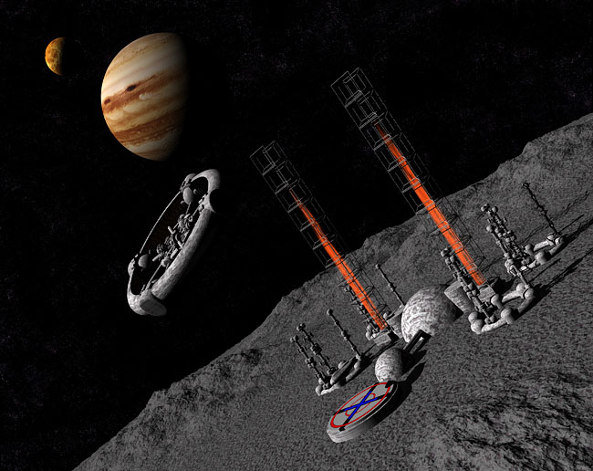 Space Settlement Art Contest: Jovian Asteroid Diversion Project