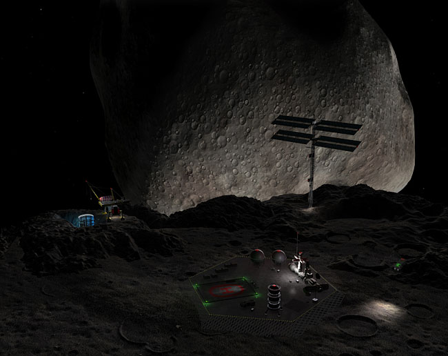 Space Settlement Art Contest myers Mining Settlement on 90 Antiope