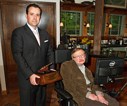 Stephen Hawking with NSS Award