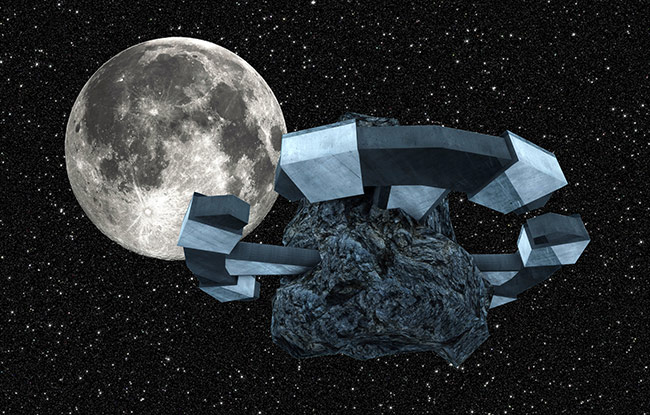 Student Art Contest Ancesius Asteroid Mounted Settlement