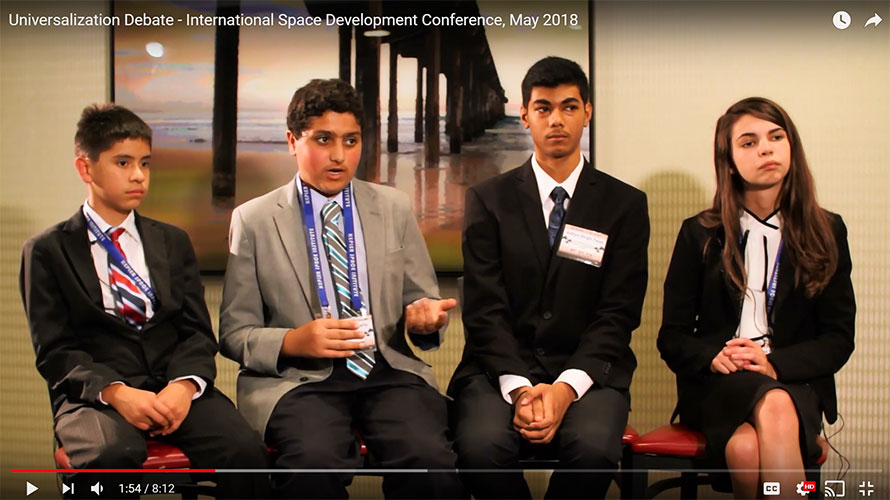 Middle school students debate the future of our world within the universe at ISDC